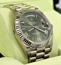 Rolex President 40mm Day-Date 228239 18K White Gold Green Roman Dial BRAND NEW