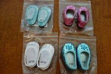 """Lot 4 Pair Dress Shoes Slippers Blue Pink White American Girl 18"""" Dolls NEW RARE"""