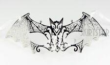 Silver Laser Cut Bat Venetian mask Crystal Masquerade Costume Chrome Halloween