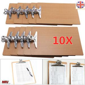 10x A4 Wooden Clipboard Hardboard Chrome Clip Small Menu Clip Board Storages UK