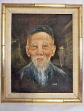 Vintage Original Dianne Dengel Art Painting Portrait Asian Man