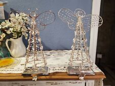 2 POTTERY BARN ANGEL STOCKING HOLDER Christmas Mantle Hanger SILVER CRYSTAL BEAD