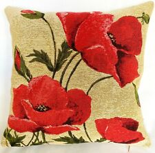 35CM BELGIAN TAPESTRY CUSHION COVER, POPPIES WITH BLACK BACKGROUND, 10218/17