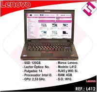 "PORTATIL ORDENADOR OCASION LENOVO L412 I3 M380 2,53GHZ 4GB RAM 120GB SSD 14"""