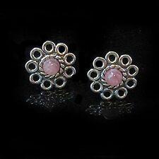 Sterling Silver Natural Rhodochrosite Post Earrings