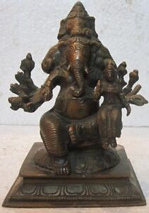 Brass GANESHA with 5 faces hindu traditional statue old or antique look