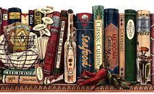 Bookshelf Library Shelf Office Kitchen Vintage 2 Rolls 30' Wallpaper Wall Border