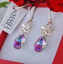 925 STERLING SILVER EARRINGS PEAR/ALMOND - VITRAIL LIGHT CRYSTALS FROM SWAROVSKI
