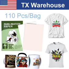 110 Sheets Heat Sublimation Transfer Paper Iron On T Shirt Mug For Injet Printer