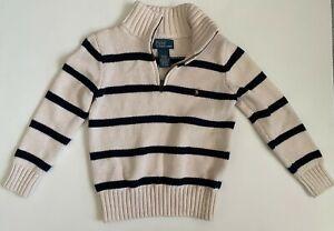 Polo Ralph Lauren Boys 4/4T Long-Sleeve Striped Pullover Sweater Beige Blue
