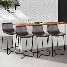 Artiss 4x Bar Stools Leanne Kitchen Stool Leather Dining Chair Set Metal Black