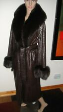 GIANFRANCO FERRE BROWN RABBIT / LEATHER COAT WITH FOX FUR COLLAR AND CUFFS sz  L