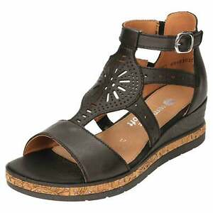 Remonte Wedge Heel Platform Gladiator Sandals D3053-01 Open Toe Leather Shoe