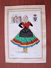 Vintage Greeting Card - Made in Spain - with Fabric Dress - Marquin Heirloom