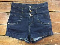 Topshop Moto  Blue High Waisted  Jean Denim Shorts Size 8 W26    Dm55