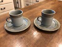 Set of 2 - Vintage KASUGA 555 Blue Stoneware Coffee Cups & Saucers Japan f5