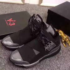 2018 Y3 Qasa High Yohji Yamamoto Light Weight Lace Up Men's Black Trainers Shoes