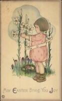 Easter MEP Margaret Evans Price Little Girl & Lily Flowers Postcard