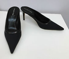 SERGIO ROSSI SHOES MULES BLACK MICROFIBER AND LEATHER SIZE 37 1/2 7