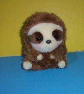 "Brown & Cream Plush Sloth Toy Stuffed Animal Ball 5"" Bean Bottom Round"