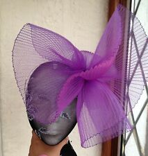 Purple fascinator millinery burlesque wedding hat hair piece ascot race bridal