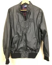 Men's Windbreaker Jacket in Black Front Zip Side Pockets Elastic Waist & Cuffs M