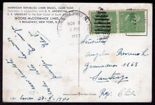 420 US SEAPOST CANCEL TO CHILE POSTCARD 1940 SS. BRAZIL MOORE-McCORMAC LINES