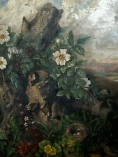 "Mid 19th cent. OLD MASTER PAINTING ""Bird's Nest"" ca 1850 ROMANTICISM - BOTANICAL"