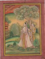Hand Painted Mughal Miniature Painting Prince And Princess At Garden Lover Art