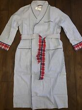 Brooks Brothers Blue Striped Dressing Gown RRP £115 Lightweight Red Check Detail