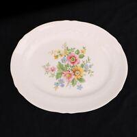 """Crown Potteries CO. 13"""" PLATTER Serving Plate Vintage Multi-color Flowers"""