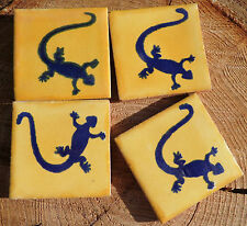 "20~MEXICAN TALAVERA POTTERY 2"" clay hand made Tile gecko lizard yellow blue"