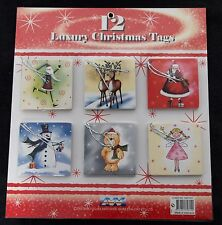 12 x PCS PACK CHRISTMAS GIFT CARD TAGS WITH STRING  - TO AND FROM GIFT WRAP