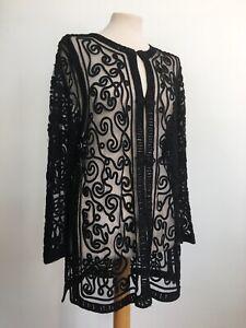 True Vintage Embroidered Black Sheer Longline Tunic Kaftan Top Size Medium 10 12