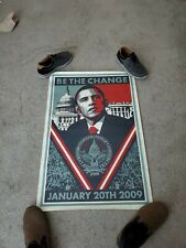 Shepard Fairley BE THE CHANGE Barack Obama Inauguration Lithograph Poster