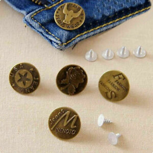 50pcs No Sew Mixed Style Replacement Metal Studs Jean Pants Buttons 20mm