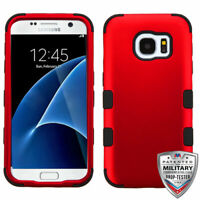 For Samsung GALAXY S7 Hybrid Rugged Shockproof Protective Case Cover Hard RED