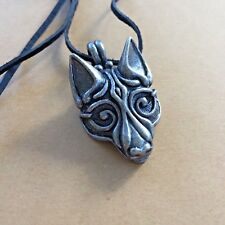 CELTIC VIKING *FENRIR WOLF'S HEAD** PENDANT Lead Free Metal+LEATHER CORD*NORWAY.
