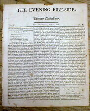 1806 newspaper Very Early Disaster LARGE FIRE strikes PHILADELPHIA Pennsylvania