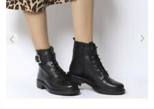 Office Black Leather Ladies Lace Up Boots £44 Size Uk  4 New Boxed Side Zip