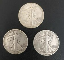 Lot of 3 1942 P D S Silver 50c Walking Liberty Half $ Dollar