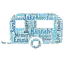 Personalised Caravan Word Art Print Great Gift Mum Dad Nan Grandad Birthday