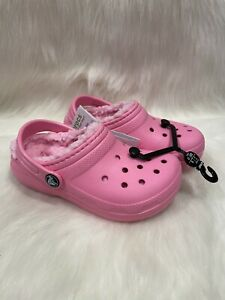 NEW Crocs Pink Fur Lined Clog Shoes size C 11 NWT