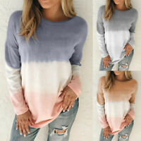 Women Tie-Dye Printed Gradient Pullover Sweatshirt Jumper Long Sleeve Blouse B8
