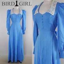 DOLLYBIRD 1960S VINTAGE BLUE SMOCKED LACE COLLAR KOOKY MAXI DRESS 10 S
