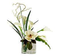 FLOWER ARRANGEMENTS - MAGNOLIA & CALLA LILY BOUQUET - SILK FLORAL ARRANGEMENT