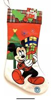 New Disney Mickey Mouse Christmas Stocking 18in Satin with Plaid Felt Top Banner