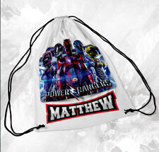 Personalised Drawstring Bag Any Name Power Rangers Swimming School Nursery PE 2