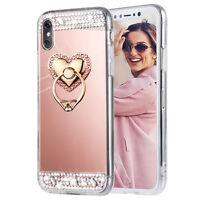Bling Diamond Crystal Ring Holder Kickstand Mirror Makeup back Case skin Cover F