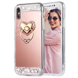 Bling Diamond Crystal Ring Holder Kickstand Mirror Makeup back Case skin Cover L